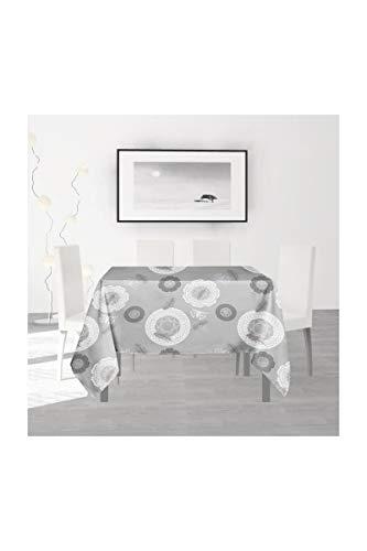 Soleil d'ocre Texas Nappe, Polyester, Gris, 180 x 180 cm
