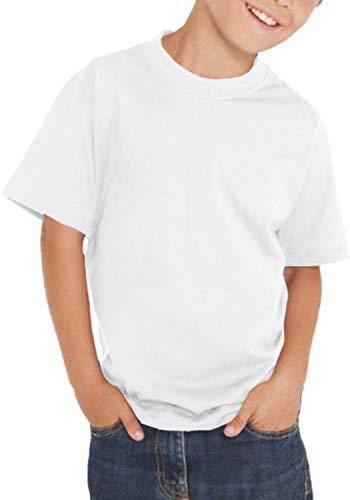 Maglietta T-Shirt Bimbo Bimba - 100% Cotone - 150 Grammi - JHK MOD. TSRB TSRK 150 (5-6 Anni, Bianco)