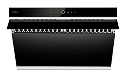 """FOTILE JQG7505 30"""" Under-Cabinet or Wall-Mount Range Hood   Dual DC-Motor   Side Draft Design   Hands Free On and Off   Touchscreen with 4 Speed Level   Modern Kitchen Onyx Black Glass"""