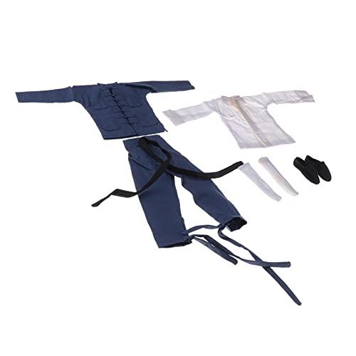 "freneci Custom 1/6 Scale Bruce Lee Chinese Kongfu Costum Set Tang Suit para 12 ""Figura de Acción Body Doll Model Parts - Azul"