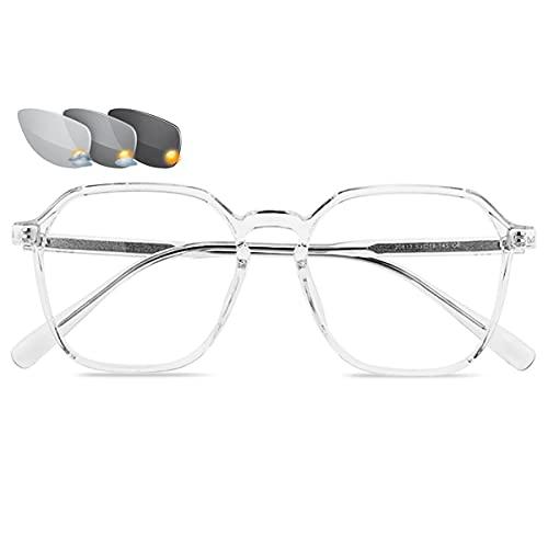 LGQ Gafas de Lectura Unisex con Montura de Moda, Gafas de Sol fotocromáticas para Exteriores, Gafas de presbicia ópticas multifocales progresivas,Clear,+2.00