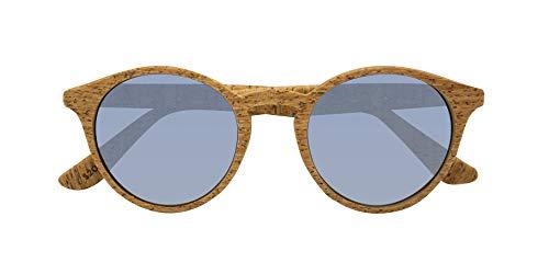 PARAFINA Laguna Gafas de Sol para Mujer y Hombre, Protección UV400, Gafas Eco-Friendly Polarizadas y Ultra Ligeras, Montura Eco-friendly color Corcho y Lentes Azules Espejadas
