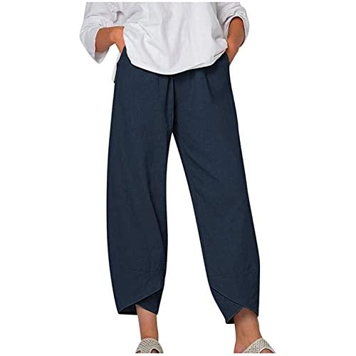 MFFACAI Pantalones Casuales de Algodón y Lino de Gran Tamaño para Mujer Pantalones de Verano de 7/8 Tallas Grandes Estampado de Margaritas Corte Cómodo Cintura Elástica con Elásticos