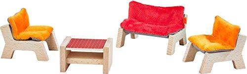 HABA 303840 - Little Friends – Puppenhaus-Möbel Wohnzimmer | Mit Sofa, Tischchen und 2 Sesseln | Passend für alle Little Friends-Puppenhäuser
