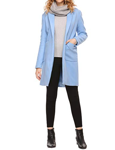 Zeagoo Women Lapel Long Trench Coat Wool Blended Jacket Cardigan Sky Blue X-Large
