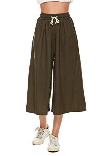 BCOFUI Pantalones Culotte de pierna ancha con cordón para mujer, de talle alto, ligeros, holgados