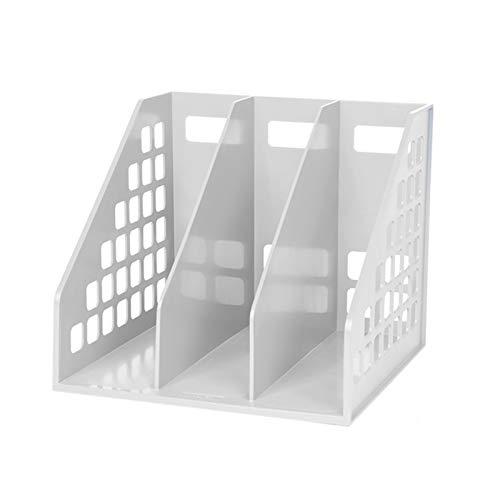 Scaffale per organizzare File CD Desktop, divisori per libri con Cornice in plastica per riviste - scatola per documenti (Color : White)