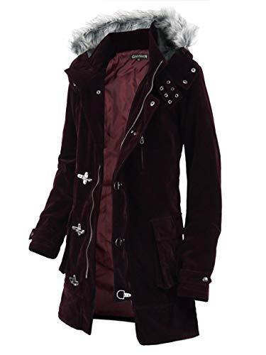 (ラグタイム セレクト) Ragtime Select コート メンズ ミリタリー ロングコート ファイヤーマン コート ベロア ベルベット 中綿コート ゴシック EX-O137006 ワイン L