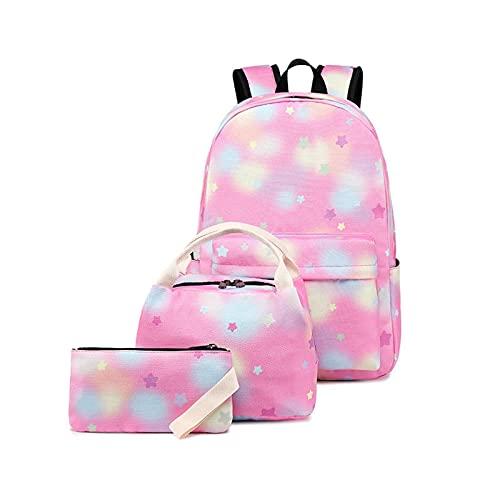 K-Park Mochilas para niños y niñas, conjuntos de bolsas escolares con caja de almuerzo y estuche para lápices, ligeras y resistentes al agua con cielo estrellado (Tie Dye Galaxy)
