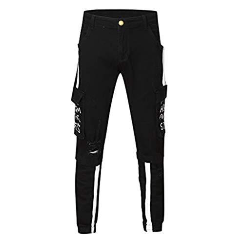 Panty's, joggingbroek, brede broeken, broek voor heren, joggingbroek, modieus denim, gat, broek voor lange potloden, streetwear XXXL zwart