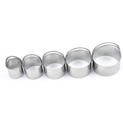 BSTCAR 5 cortadores de repostería, cortador redondo de galletas con mango de acero inoxidable, moldes para hornear
