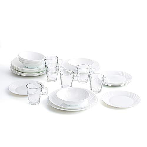 Luminarc Vajilla Blanca Completa para 6 Personas 24 Set de 6 Tazas de Vidrio 26cl, Opal, 25 Piezas