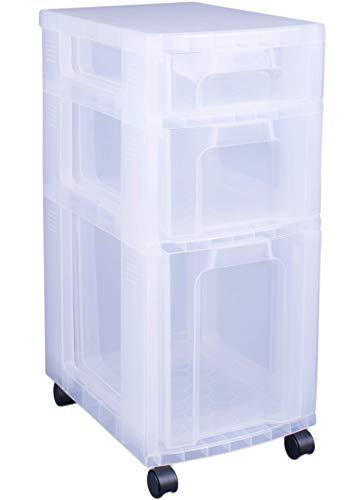 Really Useful - Cajonera plástica (3 cajones de 7, 12 y 25 litros), transparente