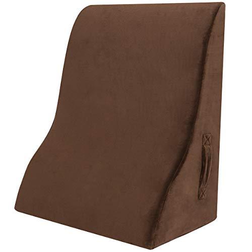 Shinnwa 新設計 三角クッション 高反発 背もたれ ベッド専用 読書用 クッション テレビ腰枕 洗えるカバー ループ付き ブラウン