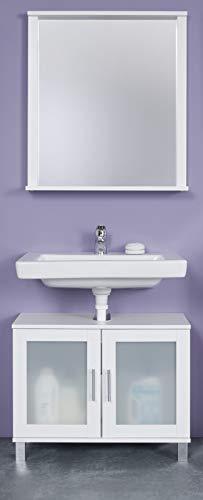 Badezimmer-Kombination in weiß mit satiniertem Glas Florida/Orlando 2-teiliges Set Spiegel und Waschbeckenunterschrank
