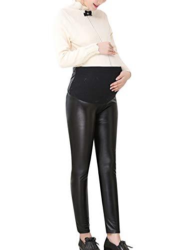 TAAMBAB Grossesse Femmes Pantalon Faux Cuir Leggings Maigre Pantalons - Maternité Leggings Over Bump Vogue Pantalon