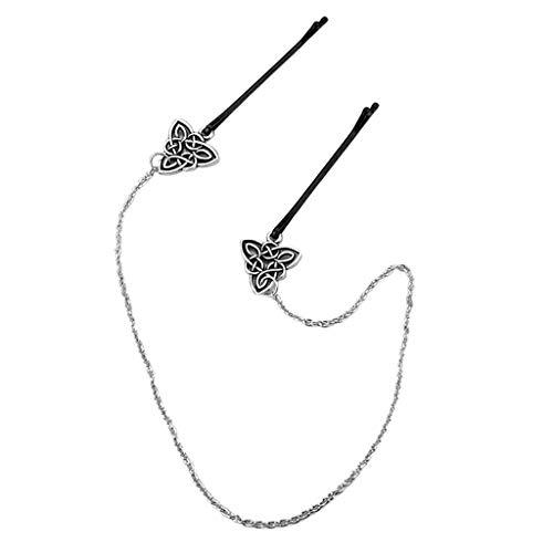 Sharplace Wikinger Haarkette Haarstecker Haarnadeln mit Kette Irish Knot Haarschmuck Kopfschmuck - D-418