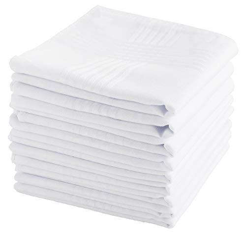 Handkerchiefs Men Cotton handkerchief White Hankie-12 Pieces