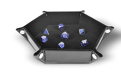 RNK Gaming Folding Hexagon Dice Tray PU Leather and Black Velvet for dice Rolling Games Like DND D&D