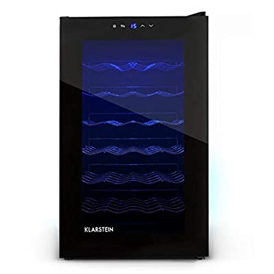 Klarstein MKS-2 Deluxe Edition Wine Refrigerator, Drinks Fridge, 70 L, 28 Bottles, 6 Shelf Bays, Low Operating Noise, Touchpad, Temperature Range: 8° - 18° C, LED Interior Lighting, Black