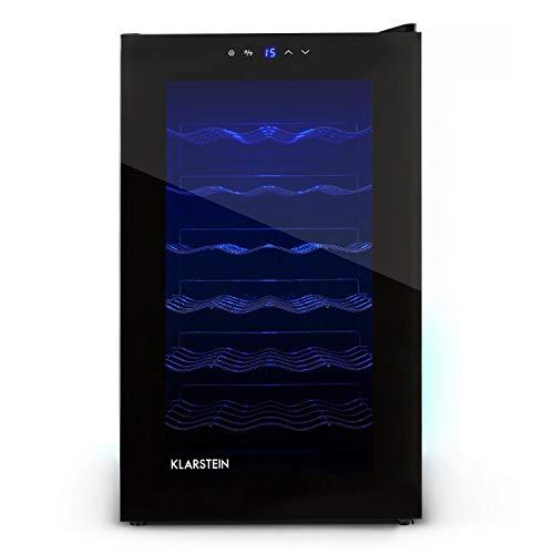 Klarstein MKS-2 Cava - Nevera para vinos, capadidad 28 botellas equivalente a 70 Litros máx, 6 Estantes, panel de control táctil, Temperatura regulable 8°- 18° C, LED interior, Negro