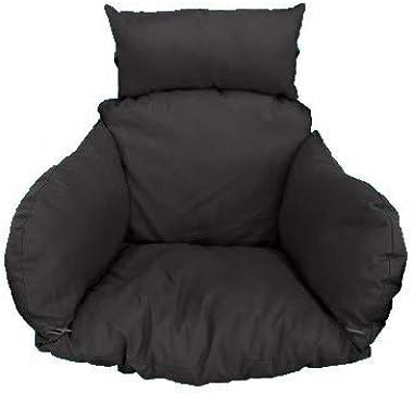 Outdoor Swinging Black Egg Chair Garden Patio Chair SW76K (Black Cushion)