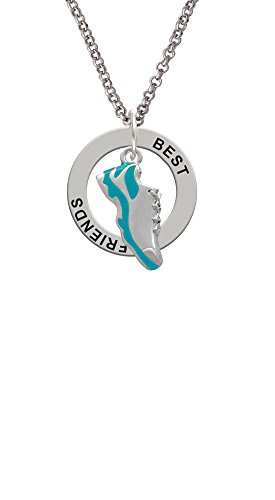 Cheer Bunny Running Shoe Teal - Best Friends Affirmation Ring Necklace