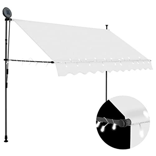vidaXL Markise Einziehbar Handbetrieben mit LED Wasserabweisend Klemmmarkise Balkonmarkise Sonnenschutz Terrasse Balkon Garten 250cm Creme