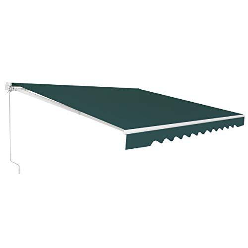 RELAX4LIFE Einziehbare Markise, Gelenkarmmarkise mit Handkurbel, Sonnenmarkise Winkel Längeinstellung(5-35°), Markise mit Wasserdichter Beschichtung, Balkonmarkise Sonnenschutz (2,5 x 2 m, Grün)
