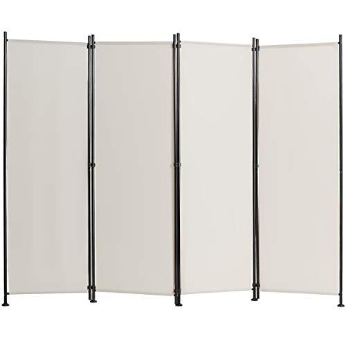 COSTWAY Biombo de 4 Piezas Separador con Almohadilla de Pie Ajustable Pantalla de Privacidad para Casa Oficina Dormitorio (Beige)