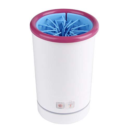 Limpiador automático de huellas de perro eléctrico para perros y gatos portátil con cable USB, taza de lavado de pies de silicona para perros y gatos (L,Rosa)