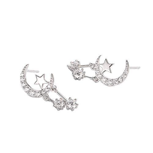 YAZILIND S925 el sol de plata esterlina y las estrellas de la luna de los aretes de zirconia cúbica colgante gota cuelgan pendientes perforadas mujeres niñas regalo de joyería