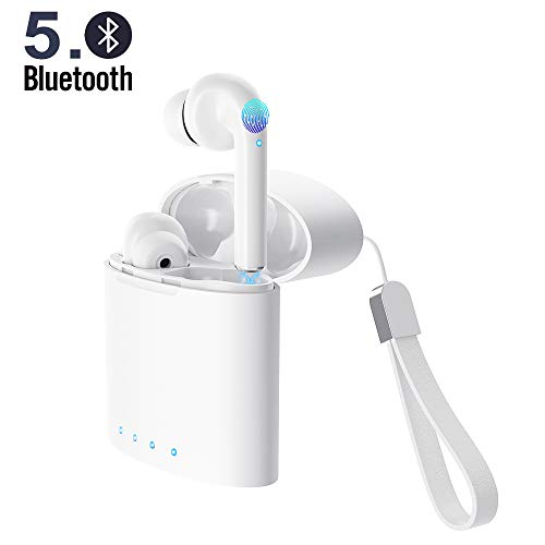 True Wireless Earbuds 5.0 Bluetooth Headphones Touch Control in-Ear Stereo Wireless Earphones with Microphone Charging Case Battery Display Noise-Cancelling Waterproof Sports Bluetooth Headsets White