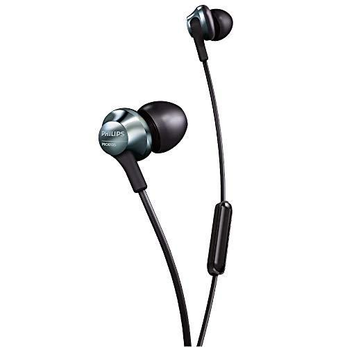 Philips In Ear Kopfhörer PRO6105BK/00 In Ear Headset (Integriertes Mikrofon, Hi-Res Audio, 8,6 mm-Treiber, Ergonomisches Design, Kabelgebunden) Schwarz/Silber