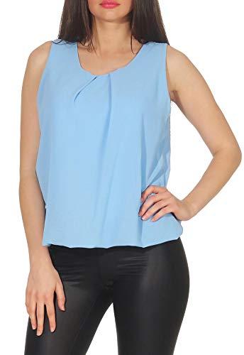 Malito Damen Bluse ärmellos | Tunika mit Rundhals | leichtes Blusenshirt | Elegant - Shirt 6879 (hellblau-2)