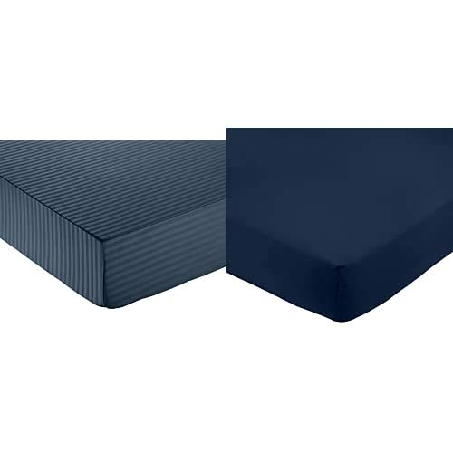 Amazon Basics - Sábana Bajera Deluxe De Microfibra, A Rayas, 135 X 190 X 30 Cm - Azul Marino + FTD, Sábanas Ajustables, 135X190X30Cm, Azul Marino