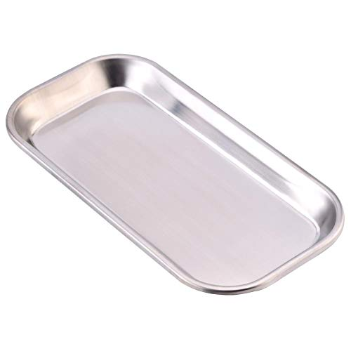 Edelstahl Serviertablett 23x13 cm – Poliertes Tablett/Tabletts für Gastronomie & Haushalt – auch als Essens-Platte, Trinktablett für Haustiere,Operationssaal, Labor