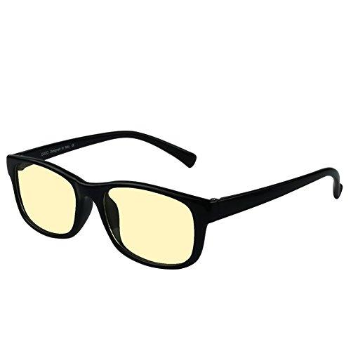 Duco Gamer Brille Computerbrille Blaulicht Blendschutz Anti-Erschöpfung UV Schutzbrille für Smartphone Computer oder Fernseherbildschirm 8016 (Helles Schwarz)