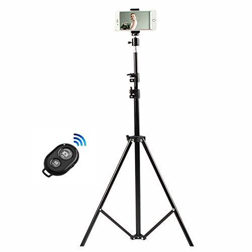 63inch/ 160cm Stativ Kompaktes Dreibeinstativ Aus Aluminium, Mit Handystativhalter und Bluetooth Fernbedienung, Zum Kamera Lampenstativ Fotografie Video