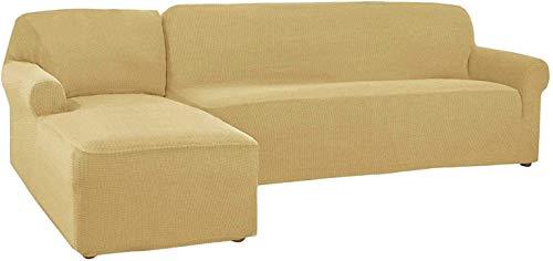 LVLUOKJ Funda de Sofa Elástica En Forma De L, Chaise Longue 2 Piezas Largo Derecho Izquierda Funda Cubre Sofá, Protector De Muebles (Color : Beige Gelb, Size : 4 Seat+4 Seat)