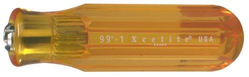 Xcelite 991 Screwdriver Handle For Interchangeable Blade, Amber, 13/16' Diameter, 4' Handle Length