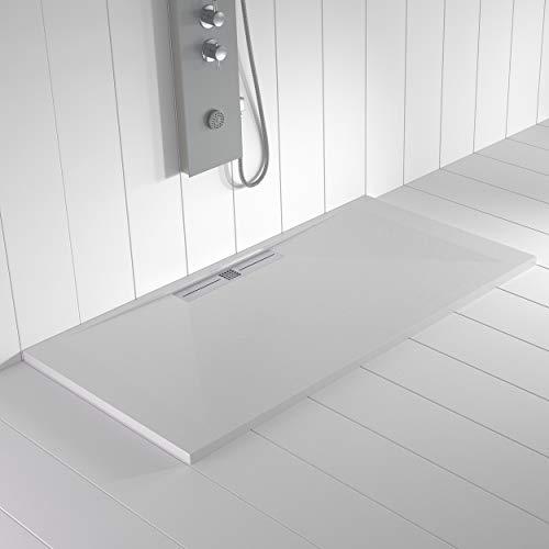 Shower Online Plato de ducha Resina WIDE - 80x80 - Textura Pizarra - Antideslizante - Todas las medidas disponibles - Incluye Rejilla Inox y Sifón - Blanco RAL 9003