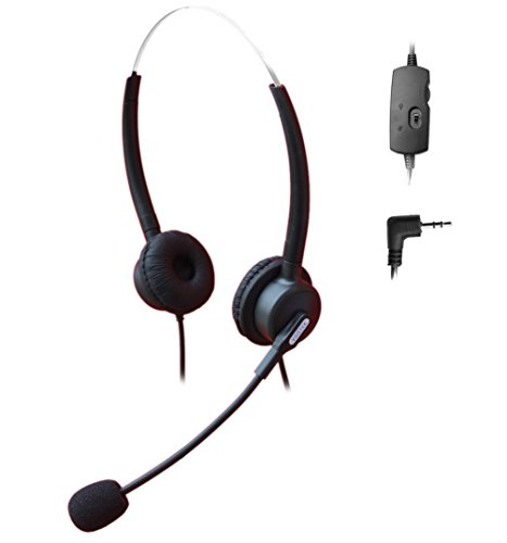 Comdio 2.5mm Call Center Telephone Headset Headphone with Mic + Volume Mute Controls for Siemens Gigaset 4010 Micro C620A C380 3020 Panasonic IP and Cordless Phones with 2.5mm Headset Jack (H203VP13)