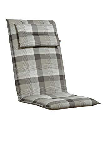 Kettler Sesselauflage mit Kopfpolster – komfortable Stuhlauflage für Klappstühle mit Kreisheftung – 120 cm hohe Polsterauflage aus Baumwolle und Polyester –grau