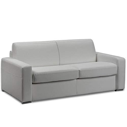 Canapé lit 3 Places Master Convertible Ouverture RAPIDO 140 cm Cuir Eco Blanc Matelas 18 CM Inclus