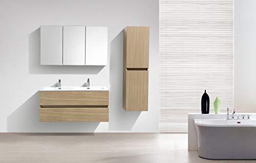 Le Monde du Bain De Mueble de baño diseño Doble Armario Siena, Ancho 120cm, Roble Claro