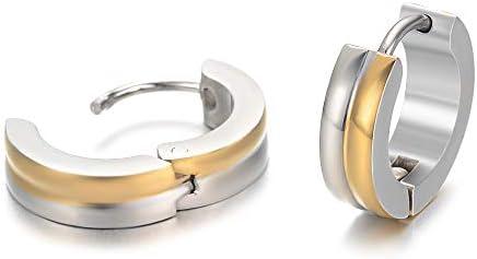 Yves Renaud Elegant Small Dainty Two Tone Round Huggie Hoop Earrings Nickel Free Hypoallergenic product image