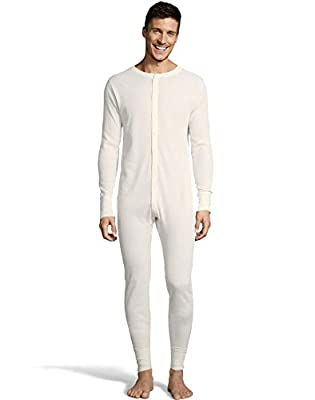 Hanes Mens Waffle Knit Thermal Union Suit, XL, Natural