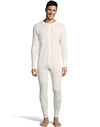 Hanes Mens Waffle Knit Thermal Union Suit, L, Natural