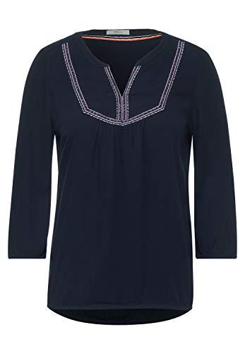 Cecil Damen Tunika-Bluse mit Stickerei deep Blue XL